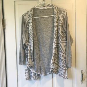 Maurices Grey Aztec 3/4 Sleeve Cardigan 3x